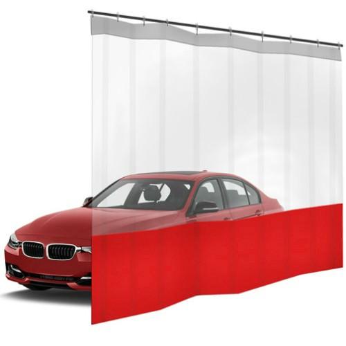 Шторы ПВХ для автомойки с окном, цвет красный 1м³