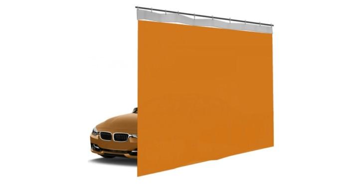 Шторы ПВХ для автомойки сплошные, цвет оранжевый 1м³